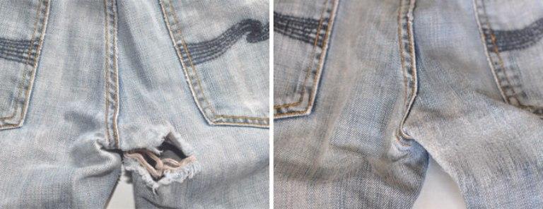 Ремонт джинс между ног своими руками