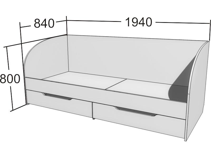 Односпальная детская кровать  чертежи