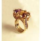 """Золотое кольцо """"Кошачий глаз"""" с аметрином, аметистами и цитринами"""