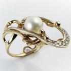 """Золотое кольцо """"Часы Вечности"""" с жемчужиной и бриллиантами"""