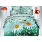 Комплект постельного белья 2-спальный с ЕВРОпростынью, сатин 3D (4 наволочки)