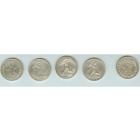 Старинное серебро 45 грамм высшей пробы, 5 монет