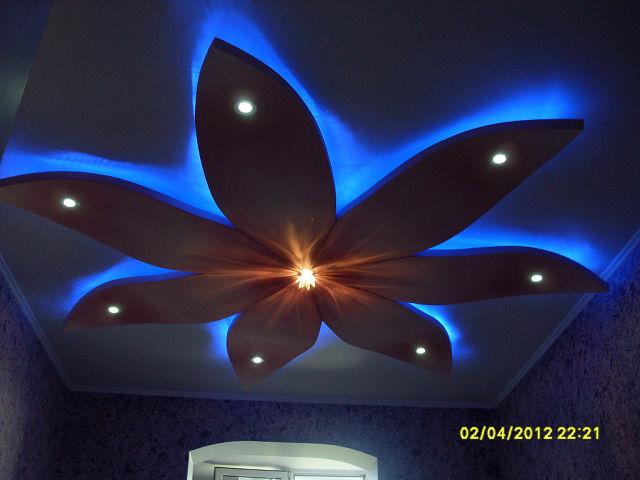 Цветок на потолке из гипсокартона своими руками 370
