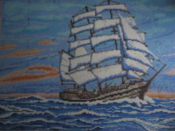 мозаика парусные лодки